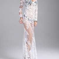 White V Neck Lace Mesh Long Sleeve Bodycon Fishtail Maxi Dress