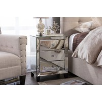 Baxton Studio Chevron Modern and Contemporary Hollywood Regency Glamour Style Mirrored 3-Drawers Nightstand Bedside Table - Walmart.com