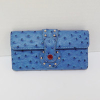 Vintage Wallet, Ostrich Embossed Blue  Faux Leather