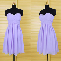 Sexy lavender chiffon short bridesmaid dress with key hole back, sequined prom dress,junior bridesmaid dress,homecoming dress DP157