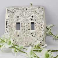 Vintage Stamped Metal Double Switchplate with Worn Off White Paint