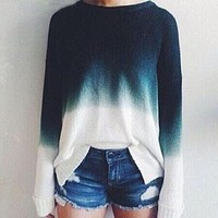 Stitching round neck knit Pullovers Tops Sweater