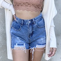 Tobi Distress Denim Shorts