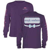 Simply Southern Preppy Collection Elephant Long Sleeve T-shirt for Women in Purple LS-ELELOGO-CONCORD