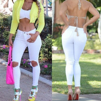 New Fashion Casual Women Long Skinny Jeans Pencil Pants White Denim Holes Trousers = 5617115713