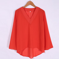 Orange Batwing Loose Blouse