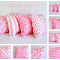 Pink pillow cover 18 x 18 One cushion cover by ThePillowPeople