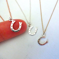 Small 925 Sterling Silver Horseshoe Necklace - Mixed Metals; Gold Fill; Rose Gold; Personalized; Gift for Good Luck; Small Horseshoe Charm
