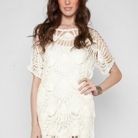 Macrame Slip Dress in Ivory :: tobi