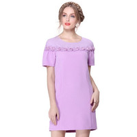 Casual Flower Lace Embroidered Chest Mini Dress