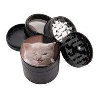 "Annoying Cat Design - 2.25"" Premium Black Herb Grinder - Custom Designed"