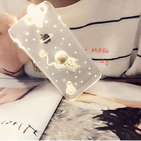 New LED Flash Cartoon Space Man Astronaut Design PC Cover Case For APPLE iPhone 5 5s 6 6plus Fashion Transparent Phone Cases -0324