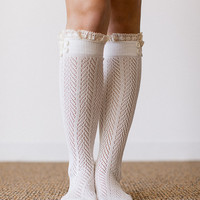 Lace Boot Socks, Ivory, Lacey Trim Ruffle Socks, Boot Socks, Fashion Accessories for Women (BS-80)