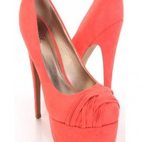 Coral Faux Suede Pleated Strapped Vamp Platform Pump Heels @ Amiclubwear Heel Shoes online store sales:Stiletto Heel Shoes,High Heel Pumps,Womens High Heel Shoes,Prom Shoes,Summer Shoes,Spring Shoes,Spool Heel,Womens Dress Shoes,Prom Heels,Prom Pumps,High