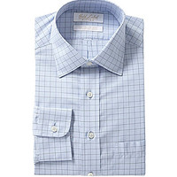 Gold Label Roundtree & Yorke Fitted Spread-Collar Dress Shirt - Blue/M