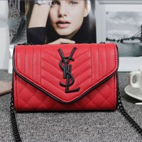 YSL Women Shopping Leather Metal Chain Crossbody Satchel Bag Red I-MYJSY-BB Tagre™