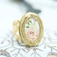 Vintage style ring jewelry, filigree & photo locket pink rose on white, adjustable ring, brass antique style, romantic, victorian, bridal