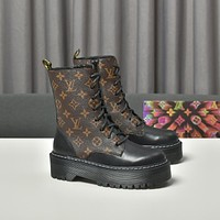 lv louis vuitton trending womens men leather side zip lace up ankle boots shoes high boots 29