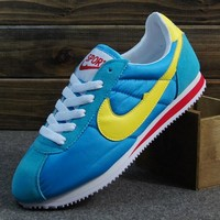 NIKE Cortez Forrest gump lovers shoes running shoes running shoes Blue yellow hook-1