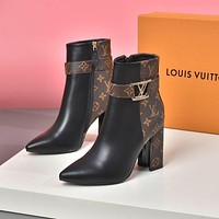 lv louis vuitton trending womens black leather side zip lace up ankle boots shoes high boots 296