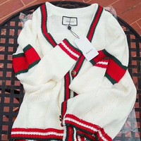 Gucci Fashion Crochet Buttons Cardigan Knitwear Sweater Knit Jacket Coat I/A