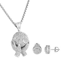 Hands Holding World Pendant Iced Out Simulated Diamonds Cluster Earrings Chain