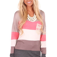 Peach Accent Color Block Tunic with Crochet Pocket