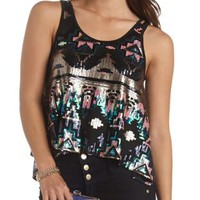 Aztec Sequin Trapeze Tank Top by Charlotte Russe - Black Combo