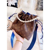 LV Louis Vuitton New fashion monogram print pearl handbag shoulder bag women bucket bag