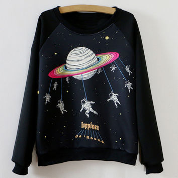 Black Space Pattern Sweatshirt
