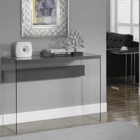 Glossy Grey Hollow-Core/Tempered Glass Sofa Table