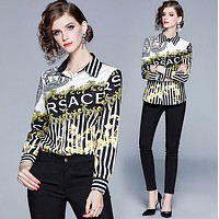 Versace Fashion Women Long Sleeved Lapel Shirt Top-7