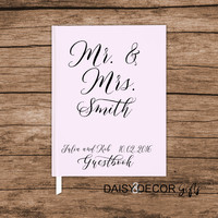 Personalized Wedding Guest Book, Custom Guestbook, journal , modern wedding, Simple guestbook, Personalized keepsakes Sign in Bar Mitzvah