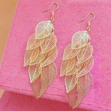 Dangling Leaf Chandelier Earrings in Gold or Silver
