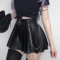 Dark Grunge Punk Gothic Skirts For Women Streetwear Zippper Rivet Pleated Metal Ring Skirt Pu Sexy Hollow Out Casual