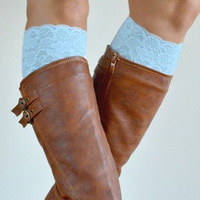 Aqua Lace boot cuffs, lace accessories