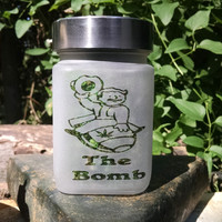Vault Boy The Bomb Etched Glass Stash Jar - Inspired by fallout- Free UPGRADE to Priority Mail within the US
