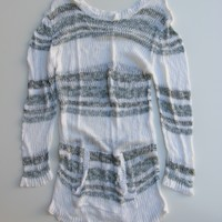 BoHo Chic Open Knit Sheer Long Tunic Sweater Dress With Patch Pocket M/L