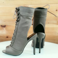 Martie Olive Lace Up Open Toe / Back High Heel Booties Boots