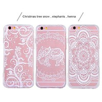iPhone 6s Case, FiveBox 3-Pack Ultra Slim [Shockproof] Silicone TPU Gel Clear Case Cover, Christmas Tree Flower/ Henna White Floral/ Elephant Pattern Hard Back Protective Case for iPhone 6, iPhone 6s