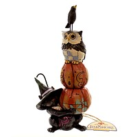 Jim Shore STACK-O-LANTERNS Polyresin Pumpkins Black Cat Owl Crow 4047836