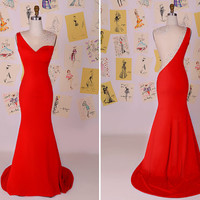 Sexy Red Beading Mermaid Long Prom Dress/See Through Back Mermaid Evening Dress/Sexy Party Dress/Red Mermaid Prom Dress  DAF0027