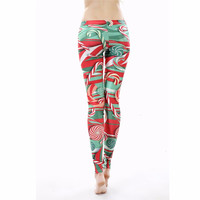 Christmas Party Gift Fashionable Stretchable Patterned Floral Printed Pants Leggings A979