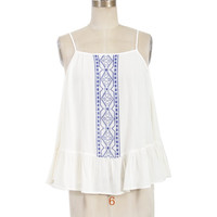 Long Sleeve Open Shoulder Front Embroidery Top - White/Blue