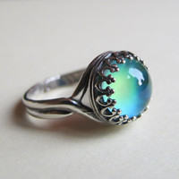 Mood Ring Sterling Silver 925 (Antique) - 10mm - High Quality - adjustable