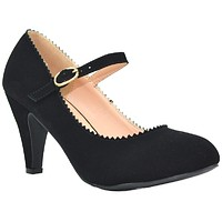 Women's Round Toe Mid Heel Mary Jane Style Dress Pumps