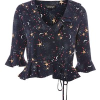 Star and Moon Print Frill Top