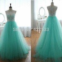 Ball Gown Scoop Tank Sleeveless Long Tulle Lace Long Prom Dress/Formal Party Dress/Evening Dress 2015 New Arrival