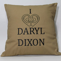 The Walking Dead inspired Daryl Dixon Embroidered Pillow Case Cover