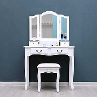 White Tri-Folding Mirror Vanity Set 4 Drawers Dressing Table Makeup Desk & Stool US Shipping Home room bedroom decoration